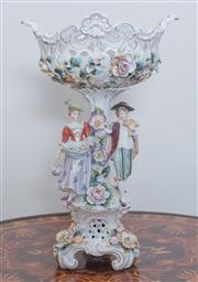 Sale 8430 - Lot 30 - A German porcelain centrepiece comport modelled with a couple and pierced floral bowl and apocryphal Vienna mark