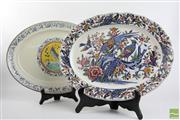 Sale 8490 - Lot 21 - Bird Themed Ceramic Serving Trays Hung For Display