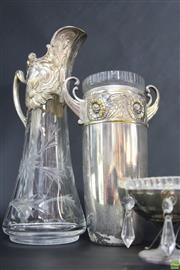 Sale 8586 - Lot 180 - Large Plated Claret Jug Together With comport and Urn