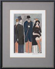 Sale 8697A - Lot 36 - David Schneuer (1905 - 1988) - Formally attired 1930s figures 30 x 22cm