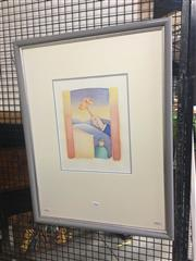 Sale 8707 - Lot 2028 - Artist Unknown - Surrealscape watercolour, 68 x 52cm (frame) signed lower right