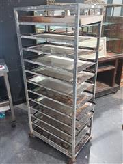 Sale 8760 - Lot 1014 - Vintage Bakers Trolley with Trays