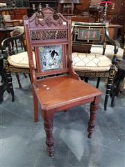 Sale 8814 - Lot 1083 - Victorian Walnut Hall Chair, the carved pierced back set with a large Minton tile of Guy Mannering designed by Moir Smith & on tur...