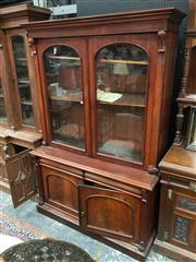 Sale 8882 - Lot 1062 - Victorian Wide Mahogany Bookcase, with two arched glass panel doors & matching panel doors below (key in office)