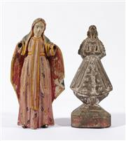 Sale 9003C - Lot 657 - Two Filipino carved timber santos figures (H25cm & 23cm) some losses