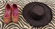 Sale 9023H - Lot 94 - A pair of womens embroidered shoes size 5  together with a black sun hat.