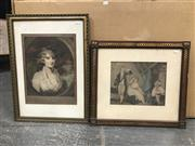 Sale 9033 - Lot 2081 - Artist Unknown, Adulterer, handcoloured stipple engraving, frame: 41 x 56 cm, together with another engraving after Sir Henry Raeb...