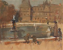 Sale 9161 - Lot 517 - BESSIE GIBSON (1868 - 1961) Park Scene, Paris (double-sided) oil on timber panel 19 x 24 cm (frame: 29 x 35 x 3 cm) signed lower rig...