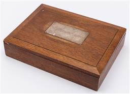 Sale 9099 - Lot 36 - A cigar box with sterling silver plaque with monogram, Height 5cm x Width 20cm x Depth 14.5cm