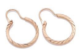 Sale 9209J - Lot 313 - A PAIR OF 14CT GOLD HOOP EARRINGS; 2.1mm wide with flat reeded pattern to arched lever fittings, size 27 x 20mm1.71g.