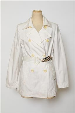 Sale 9095F - Lot 84 - A vintage Burberrys mini trench in white with traditional pattern lining, size 10-12.