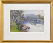 Sale 8382 - Lot 575 - Albert Henry Fullwood (1863 - 1930) - Narrara Creek, 1893 34.8 x 51cm