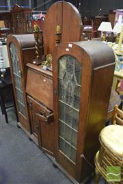Sale 8326 - Lot 1724 - Display Cabinet w Drop Front & Arched Leadlight Doors