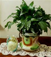Sale 8418A - Lot 17 - A transfer painted jardiniere stand with peace lily, H of pot 20cm, together with a twin handled posy vase