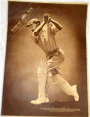 Sale 8460C - Lot 54 - Sydney Sunday Sun 16 souvenir test cricket supplement, November 29, 1936 with Don Bradman on cover. Double page of England and Austr...