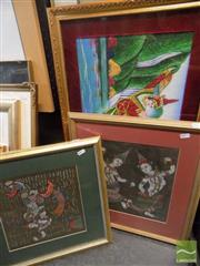 Sale 8513 - Lot 2065 - 3 Thai Style Prints of Mixed Media