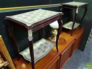 Sale 8545 - Lot 1009 - Mother of Pearl Inlaid Tiered Side Tables
