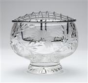 Sale 8651A - Lot 23 - An English Stuart hand cut lead crystal rose bowl decorated with trailing flowers, H 13 x D 14cm