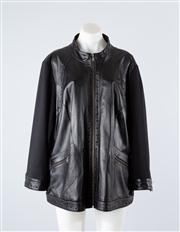Sale 8740F - Lot 58 - A Marina Rinaldi Sport leather jacket with contrasting jersey sleeves, size 29