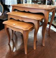 Sale 8723 - Lot 1096 - French Parquetry Top Nest of Tables on Cabriole Legs
