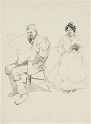 Sale 8732A - Lot 5049 - Benjamin Edwin Minns (1864 - 1937) - Old Couple 22 x 16cm