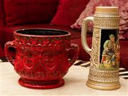 Sale 8882H - Lot 87 - Pottery including a stein and a West German red vase.