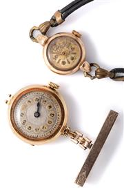 Sale 8999 - Lot 334 - TWO GOLD LADYS VINTAGE WRISTWATCHES; an 18ct Swiss made 17 jewel with 2 tone telephone dial, suspended from a 9ct gold bar brooch (...