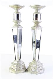 Sale 8989F - Lot 661 - Pair Of Mirrored Candlesticks H: 50cm