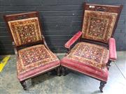 Sale 9017 - Lot 1096 - Carved Back Mahogany Grandfather and Grandmother Chairs