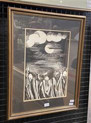 Sale 9016 - Lot 2015 - Kohary Worshippers ink on paper, 48 x 36cm (frame) signed