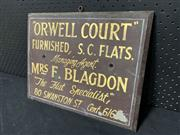 Sale 9092 - Lot 1013 - Vintage hand painted Orwell Court sign (h:31 x w:38cm)