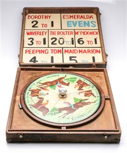 Sale 9122 - Lot 65 - A Cased Vintage Hand Painted Horse Racing Game (Box Size - 52x51cm)
