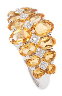 Sale 9160 - Lot 330 - A SILVER CITRINE AND DIAMOND RING; set across the top with graduated oval cut citrines and central row of single cut diamonds, size...