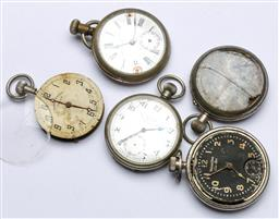 Sale 9164 - Lot 36 - Small collection of pocket watch parts inc, dials, mechanisms and cases (Untested)
