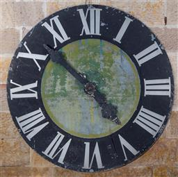Sale 9191W - Lot 473 - Large galvanised metal wall clock face, with central hinged access panel. Appears to be from an original working clock, diameter 181cm