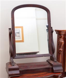 Sale 9190H - Lot 326 - Victorian Mahogany Toilet Mirror, with shaped supports, hinged compartment & two concealed drawers, 83 x 66cm