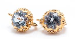 Sale 9253J - Lot 391 - A PAIR OF 18CT GOLD STONE SET EARRINGS; claw set with fancy cut synthetic light blue spinel in decorative mounts to continual fittin...