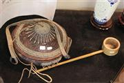 Sale 8047 - Lot 91 - A tribal leather covered basket w/ metal beading, together with Bamboo Ladle.
