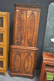 Sale 8418 - Lot 1015 - Georgian Style Mahogany Veneered Corner Cabinet w Mirrored Slide