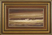 Sale 8424A - Lot 5011 - Peter Fennell (1949 - ) (3 works) - Yellow Landscape; Outback Sunset; Country Farmhouse 15 x 30cm, each