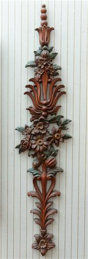 Sale 8881H - Lot 18 - A continental carved timber wall applique with fruit and flowers. Height 83cm