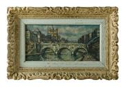 Sale 8888H - Lot 42 - Le Pont St. Michel, Paris by Raymond Besse 1899 - 1969 - oil on canvas in a carved French frame - 21 x 41 cm