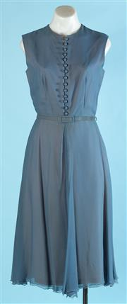 Sale 9090F - Lot 59 - A VINTAGE BUTTON UP SLEEVELESS DRESS; with belted waist in blue with a peach coloured lining, size XS