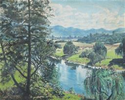 Sale 9099A - Lot 5056 - Reginald Rowe (1918 - 2009) - Along the Bellingen River, North Coast 59.5 x 75 cm (frame: 79 x 93 x 3 cm)