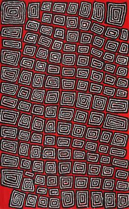 Sale 9148A - Lot 5017 - THOMAS TJAPALTJARRI (c1964 - ) Tingari acrylic on canvas 153 x 95 cm (stretched and ready to hang) signed verso; certificate of auth...