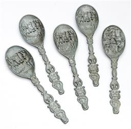 Sale 9168 - Lot 402 - A set of five early Dutch pewter spoons L17.5cm
