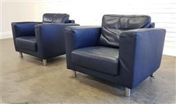 Sale 9174 - Lot 1129 - Pair of leather lounge armchairs (h82 x w94 x d85cm)
