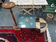 Sale 7969A - Lot 1084 - Tapestry Top Table, Ottoman & Smokers Stand