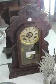 Sale 8032 - Lot 25 - Late 19th Century Ansonia Timber Alarm Clock with Key and Pendulum