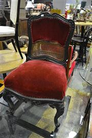 Sale 8134 - Lot 1025 - 18th Century Style Carved Walnut Chair, with red velvet & double caned back, on cabriole legs